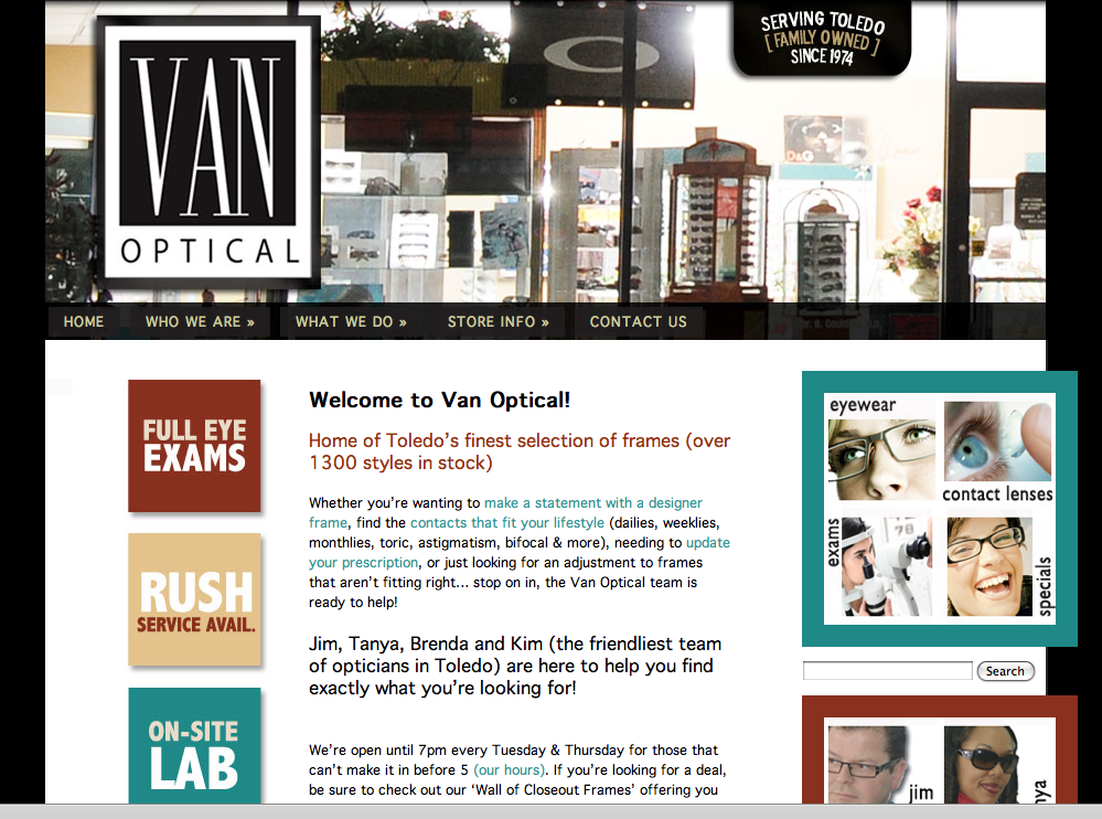 Web Design & Development for Van Optical | Toledo, Ohio